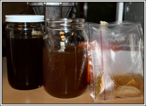 Honey, sweetened green tea, and Jun scoby