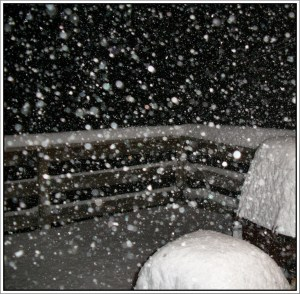 Friday night snow on the deck.