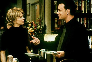 "Kathleen Kelly (Meg Ryan) and Joe Fox (Tom Hanks)  in ""You've Got Mail"""