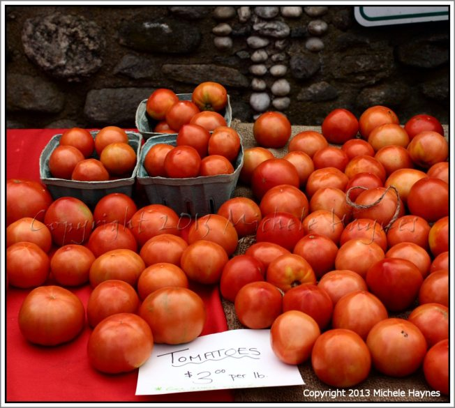 Organic tomatoes at the Chester Summer Market summer 2012