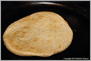 Homemade organic whole wheat flatbread cooked in my Made-in-the-USA Lodge cast iron skillet.