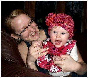 Hey, wait!  That's not a botanical.  No, that is my daughter and granddaughter.  My first crocheted cotton hat with a nice, big flower on the side!  See, there is a flower in the photo.