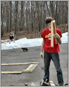 17yo cutting 2x4's for the corner pieces. He has safety glasses on under that hair.  It was a beautiful 60 degrees F that day so my 12yo was playing in the snow in shorts and t-shirt with Maya, our Tibetan spaniel.