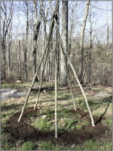 Teepee trellis for growing beans and cucumbers.  Just needs the string added.