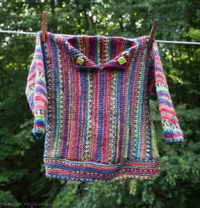 My very first completed sweater, made with lots of love for my youngest granddaughter, Charlotte