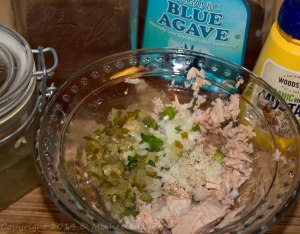 Tuna, jalapeno pepper, onion, pickles, agave, mustard, pear vinegar, salt and pepper