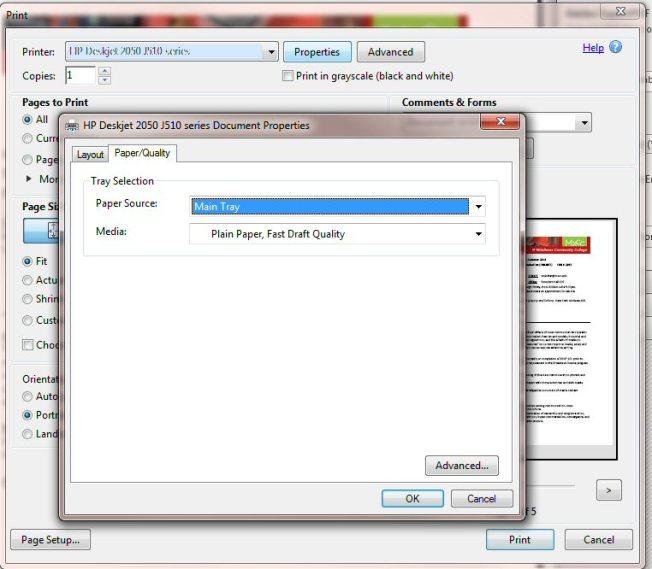 Adobe Reader Print panel - Document Properties