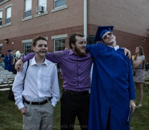Timothy, Daniel and Philip hamming it up. Graduation is done and we can all relax.