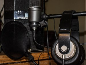 My 18-year-old son's studio microphone and pop filter, and my favorite headphones