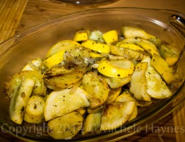 Lemon squash and onions sauteed in butter, seasoned with basil and salt.