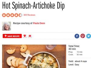 screenshot paula deen dip recipe